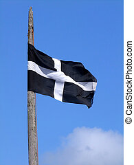 The Cornish black and white cross flag of St Piran