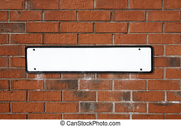 Blank street sign - Blank white British street sign on a red...