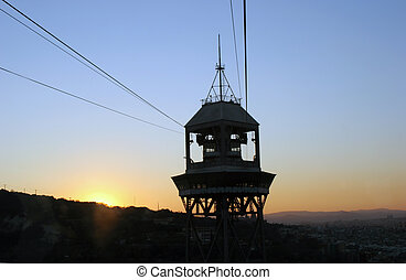 Cable car - A Cable car at sunset in Barcelona