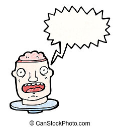 open brain head cartoon