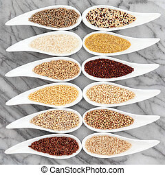 Healthy Grain Food - Healthy grain food selection in white...