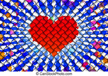 Heart abstract background - Computer graphic design of red...