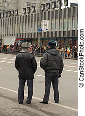 Russian policemen - Russian two policemen keep order at...