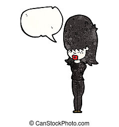 cartoon woman dressed all in black