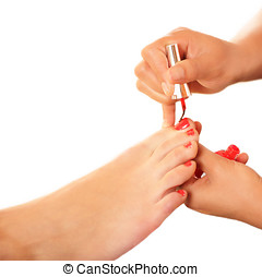Feet beauty - Woman feet care, pedicure and painting...