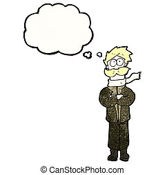 cartoon pilot with thought cloud