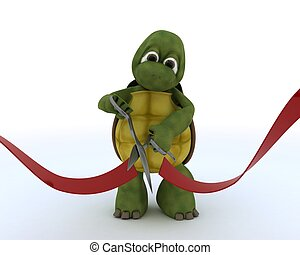 tortoise cutting a red ribbon - 3D render of a tortoise...