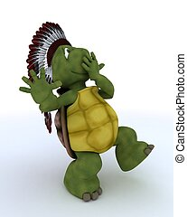 tortoise dressed as native american indian - 3D render of a...