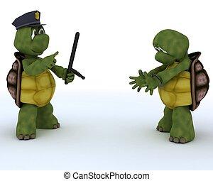 tortoises as cops and robbers - 3D render of tortoises as...