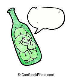 cartoon snake trapped in bottle