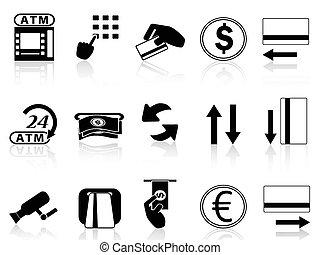 ATM, máquina, crédito, cartão, ícones, jogo