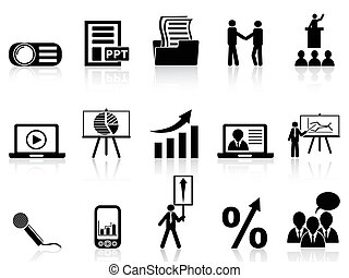 business presentation icons set - isolated business...