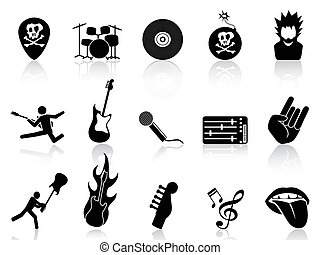rock and roll music icons - isolated rock and roll music...