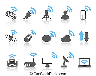 wireless communications icon,blue series - isolated wireless...