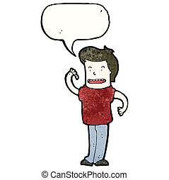 cartoon confident man with speech bubble