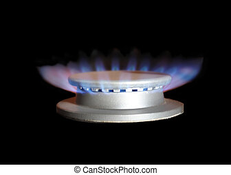 Gas burner_ - Gas torch of a cooker burning with a dark blue...