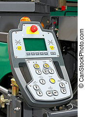 Control unit machinery with display and buttons