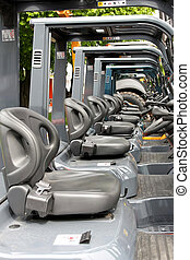 Forklifters - Cockpit view of fork lifters in line