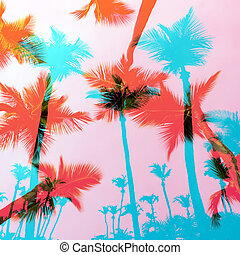 Exotic Palm Trees Montage - Tropical coconut palm tree...