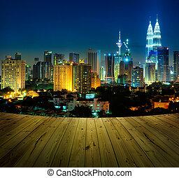 Kuala Lumpur Malaysia - Kuala Lumpur city view and wooden...