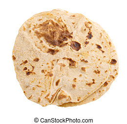 Chapatti roti isolated on white background.