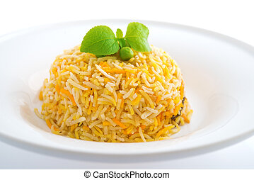 Indian plain biryani rice on plate
