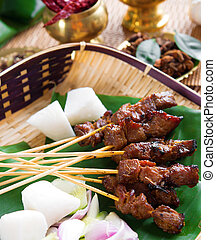 Beef satay, roasted meat skewer Malay food Traditional...