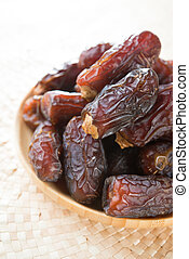 Dried dates fruit. - Dates fruit. Pile of fresh dried date...