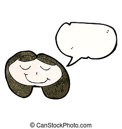 childs drawing of a happy girl with speech bubble