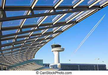 airport control tower - modern construction with airport...