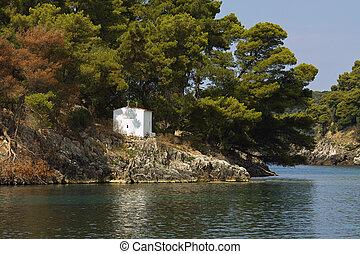 Parga bay in Greece - Panagia isle at Parga near Syvota in...