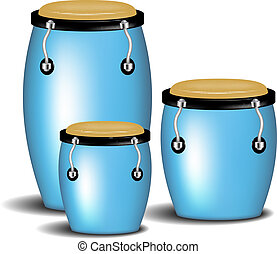Congas band in blue design with shadow on white background