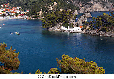 Parga bay in Greece - Parga town and port near Syvota in...
