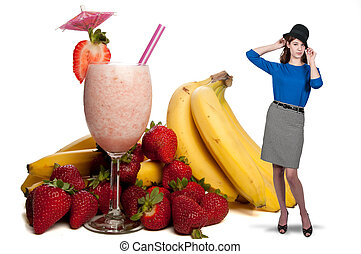 Woman with Fruit Smoothie