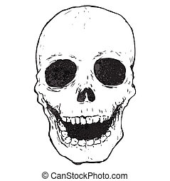 cartoon spooky skull drawing