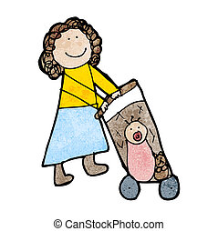 childs drawing of a mom pushing pram