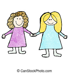 child's drawing fo two friends holding hands