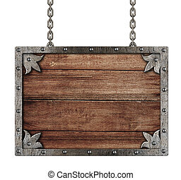 medieval old sign with chains isolated on white