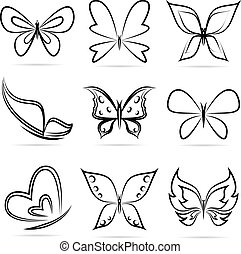 Vector group of butterflies on white background.
