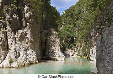 Aheron river in Greece - Aheron river springs and gorge in...