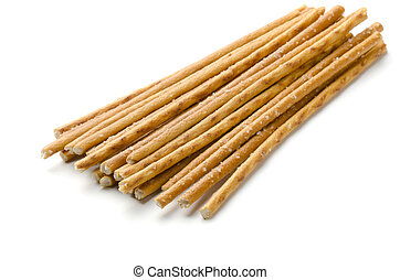 Breadsticks - Salty baked breadsticks isolated on white