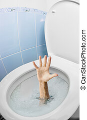 Mans hand in toilet bowl or WC flushing and asking for help