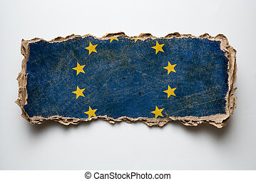 European union flag on cardboard piece