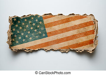USA flag on cardboard piece