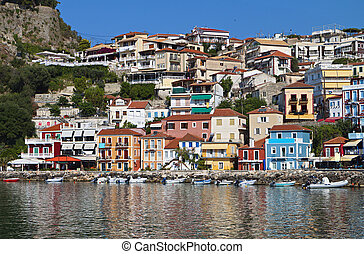 Parga town in Greece. Ionian sea - Parga town and port near...
