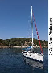 Sailing boat in Greece - Sailing boat at Valtos beach near...