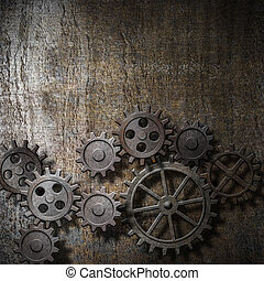 metal background with rusty gears and cogs