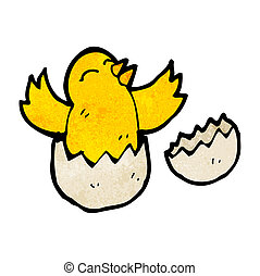 cartoon bird hatching from egg