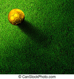 soccer football on grass field - Gold soccer football on...