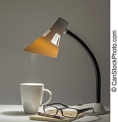 Table type lamp for night reading and working with coffee...